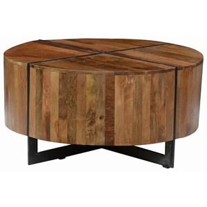 Round Mango Wood Coffee Table with Iron Base