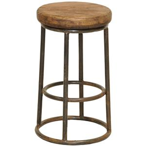 Reclaimed Counter Stool with Iron Base