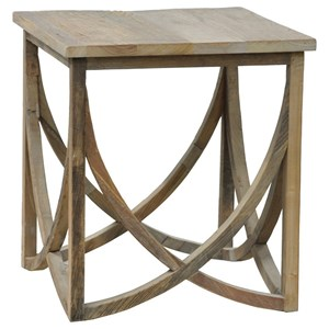 Transitional Square Elm Wood End Table
