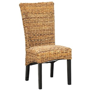 Woven Rattan Dining Side Chair with Black Legs