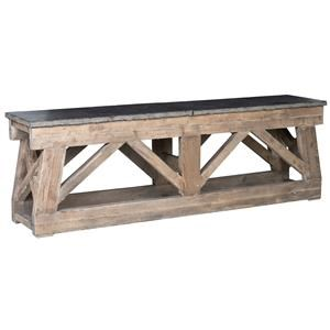 """100"""" Rustic Reclaimed Pine Topped with Bluestone Console Table"""