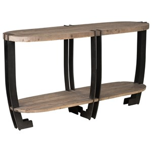Transitional Pine Wood Sofa Table with Iron Base