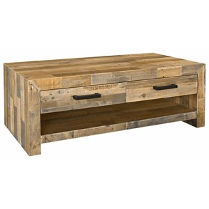 Transitional Reclaimed Pine Wood Coffee Table with Drawer and Iron Handles