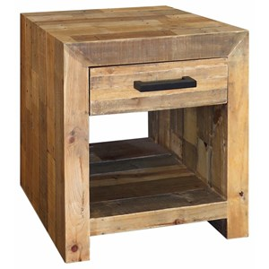 Transitional Reclaimed Pine Wood End Table with Drawer and Iron Handle