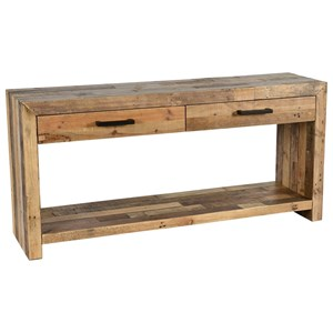 Transitional Solid Pine Wood Sofa Table with Shelf, Two Drawers, and Metal Handles
