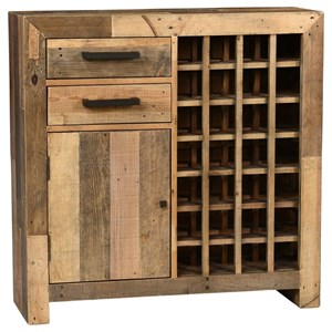 Light Transitional Reclaimed Pine Wood Wine Cabinet with Wine Storage