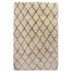 Handwoven Diamond Patterned Rectangular Ivory Shag Rug