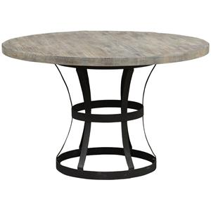 Round Single Pedestal Table with Metal Base
