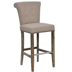 Traditionally Styled Tan Bar Stool with Rustic Legs