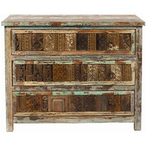 Classic Home Vintage Vintage Print Block 3 Drawer Chest