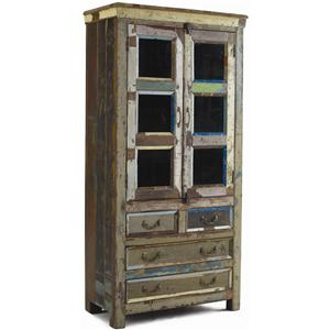 Classic Home Vintage Vintage Multi-Color Glass Panel Cabinet