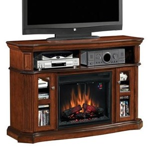 Aberdeen Electric Fireplace Media Cabinet with Two Glass-Front Doors & Open Component Compartment