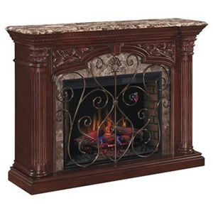 """33"""" Wall Mantel with Marble and Carved Columns"""