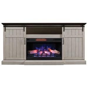 Barn Door Fireplace Media Mantel