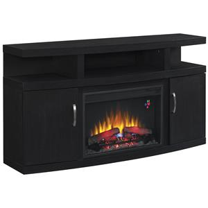Contemporary TV Stand with Fireplace Insert and Electronic Storage