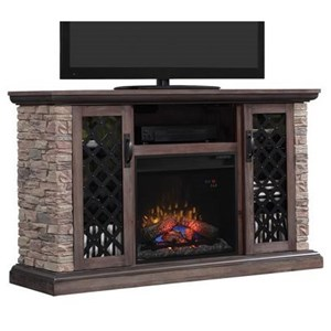 Stone Media Mantel Electric Fireplace with Sliding Doors