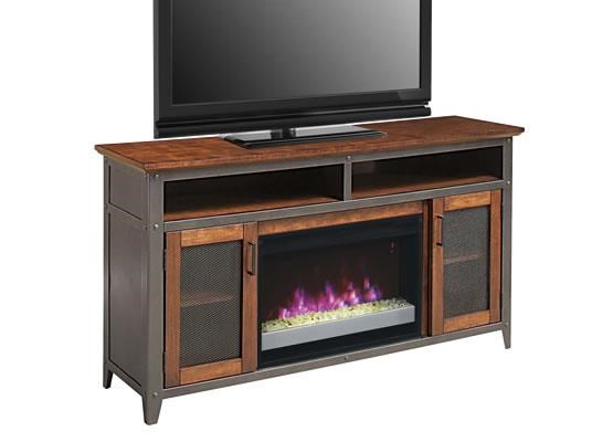 Landis TV Stand with Fireplace Insert by ClassicFlame at Westrich Furniture & Appliances