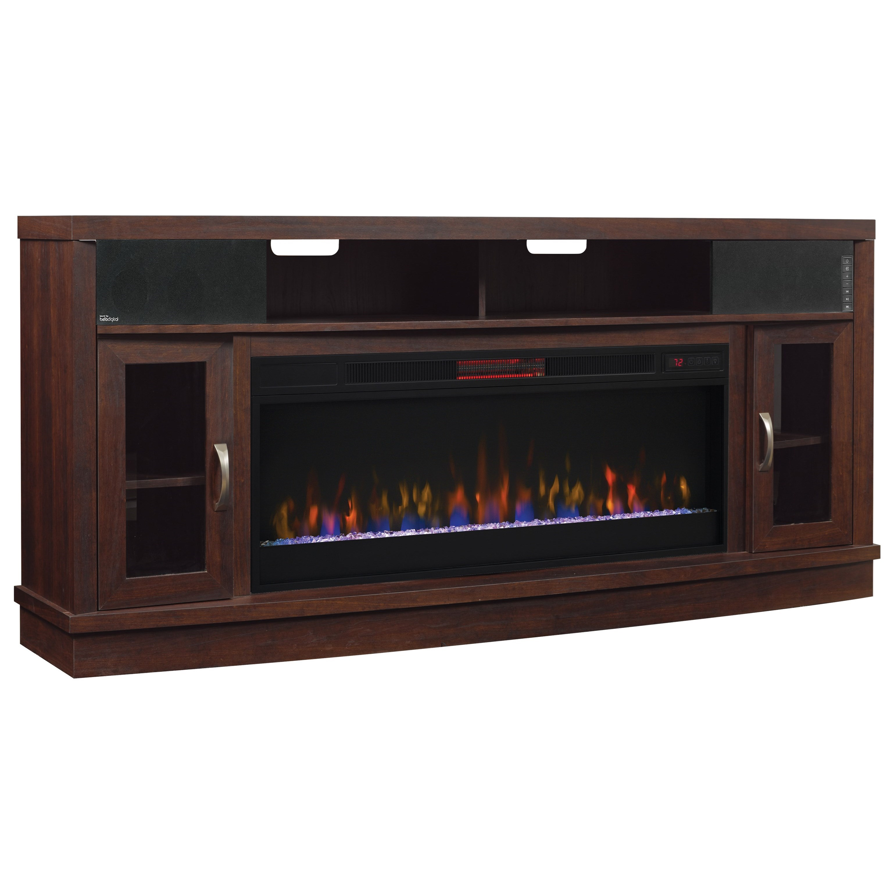 Deerfield Media Mantel Fireplace With Speakers at Sadler's Home Furnishings