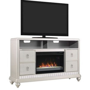 "Metallic Finished TV Stand with 26"" Electric Fireplace Insert"