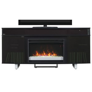 "64"" Fireplace Media Mantel with Bluetooth Sound Bar"