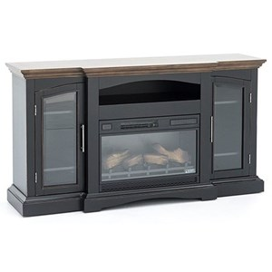 Traditional Two Tone TV Stand with Fireplace Insert