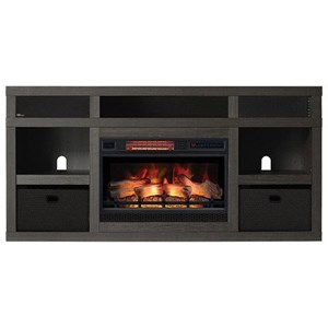 Media Mantel Fireplace with Speakers