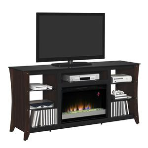 """Contemporary 66"""" Media Mantel with Electric Fireplace Insert"""