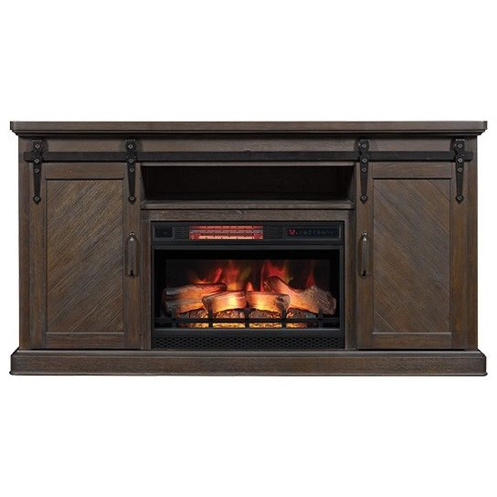 Southgate Barn Door Media Mantel Fireplace at Sadler's Home Furnishings