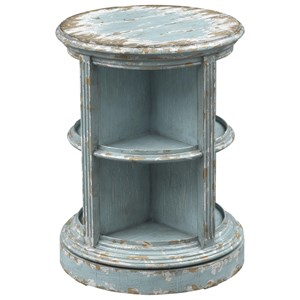 Cottage Swivel Accent Table with 8 Exterior Compartments