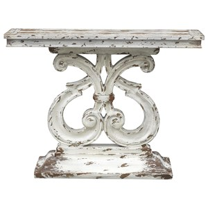 Relaxed Vintage Console Table with Curved Scroll Pedestal