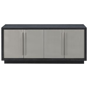 Contemporary 4-Door Media Credenza with 2 Interior Shelves and Cord Access Holes