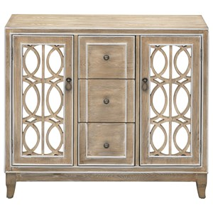 Glam 2-Door Credenza with 3 Drawers and Adjustable Interior Shelving