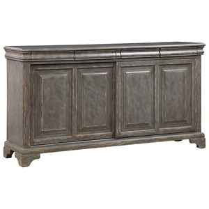 Rustic 2-Sliding Door Accent Cabinet with 4 Interior Shelves and 4 Drawers