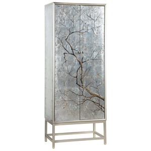 Transitional 2-Door Wine Cabinet with 4 Shelves and 1 Drawer