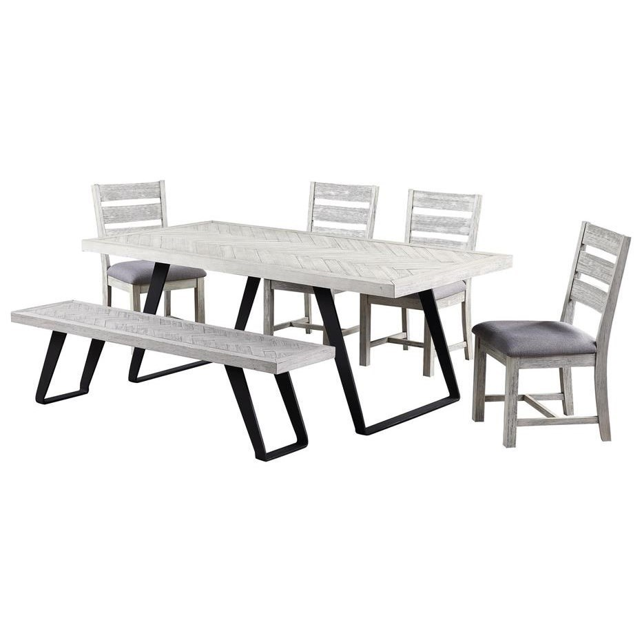 Aspen Court II 6-Piece Table and Chair Set with Bench by Coast to Coast Imports at Johnny Janosik