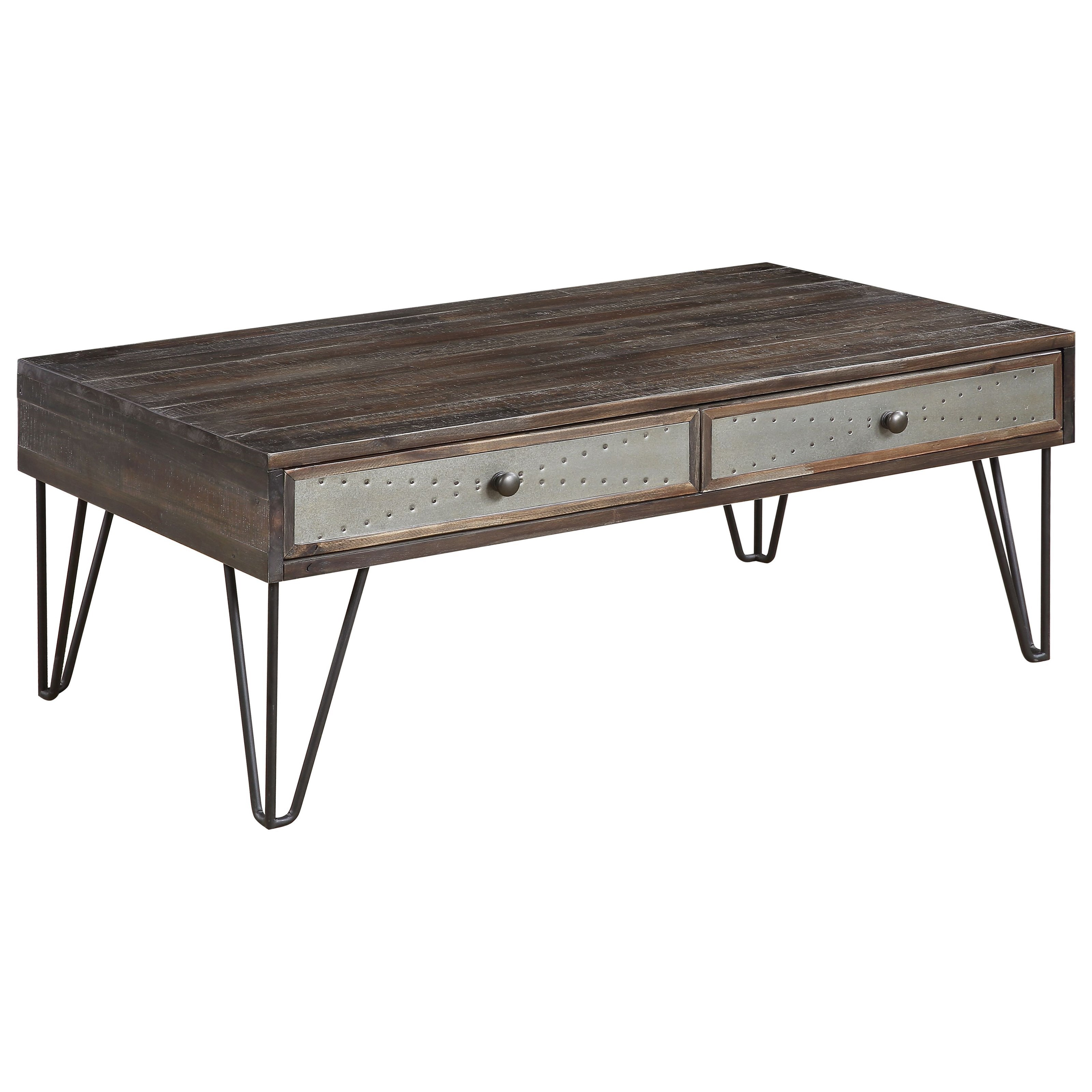 Aspen Court Vintage 2-Drawer Cocktail Table by C2C at Walker's Furniture