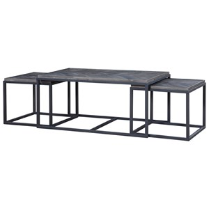 3 Piece Industrial Cocktail Table Set with 2 Nesting End Tables