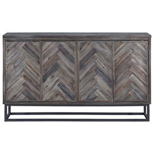 Industrial Four Door Media Credenza