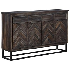 Industrial Four Door Four Drawer Media Credenza