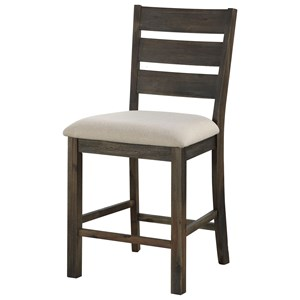 Contemporary Counter Height Ladder Back Dining Chair 2-Pack
