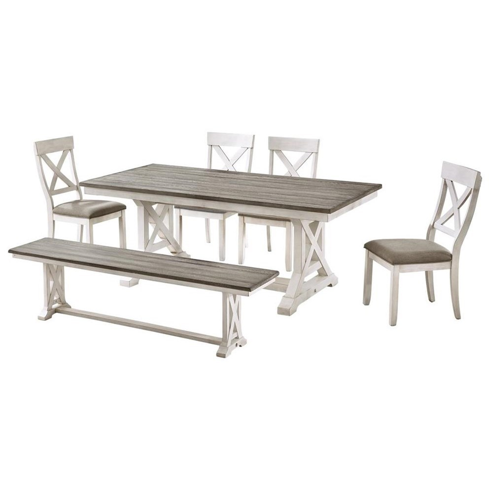 Bar Harbor II 6-Piece Table and Chair Set with Bench by C2C at Walker's Furniture