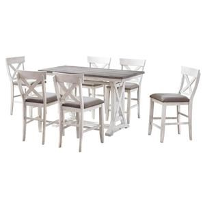COUNTER HEIGHT TABLE, 4 STOOLS