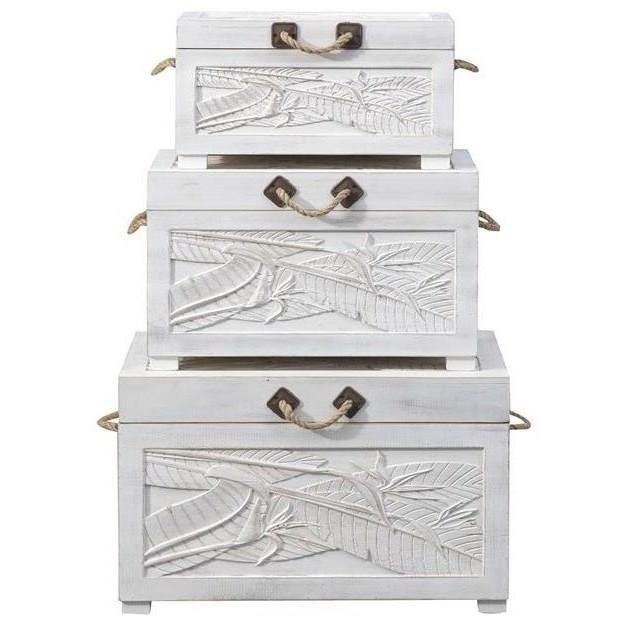 Pieces in Paradise Set of Three Nesting Trunks by Coast to Coast Imports at Zak's Home