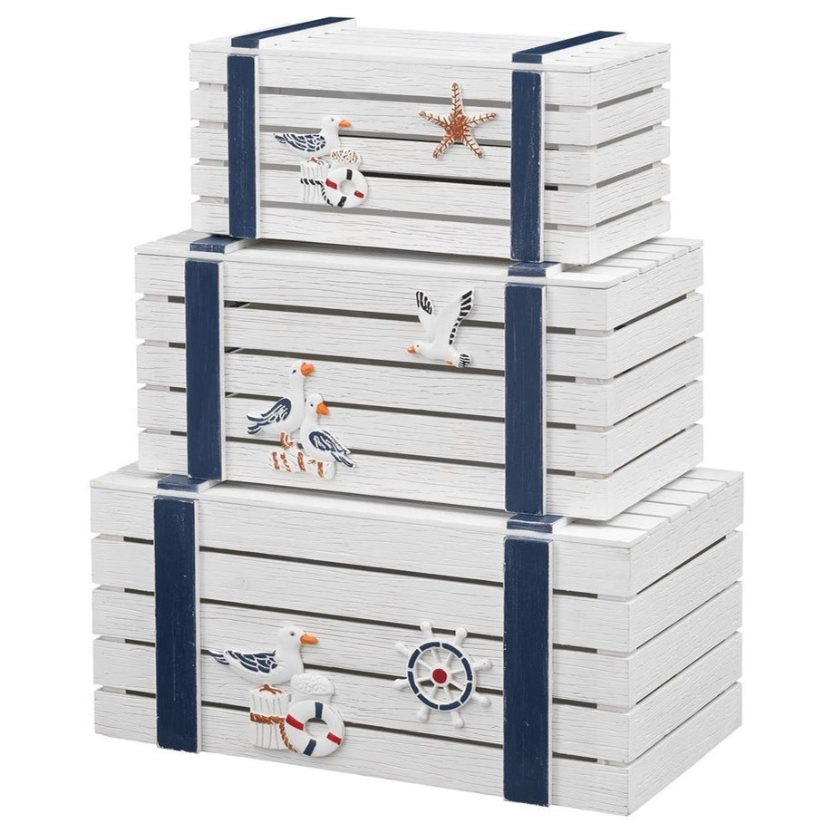 Pieces in Paradise 3-Piece Nesting Trunks by Coast to Coast Imports at Johnny Janosik