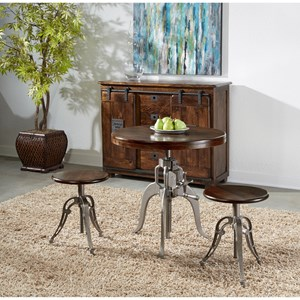 Industrial 3-Piece Adjustable Pub Table and Chair Set