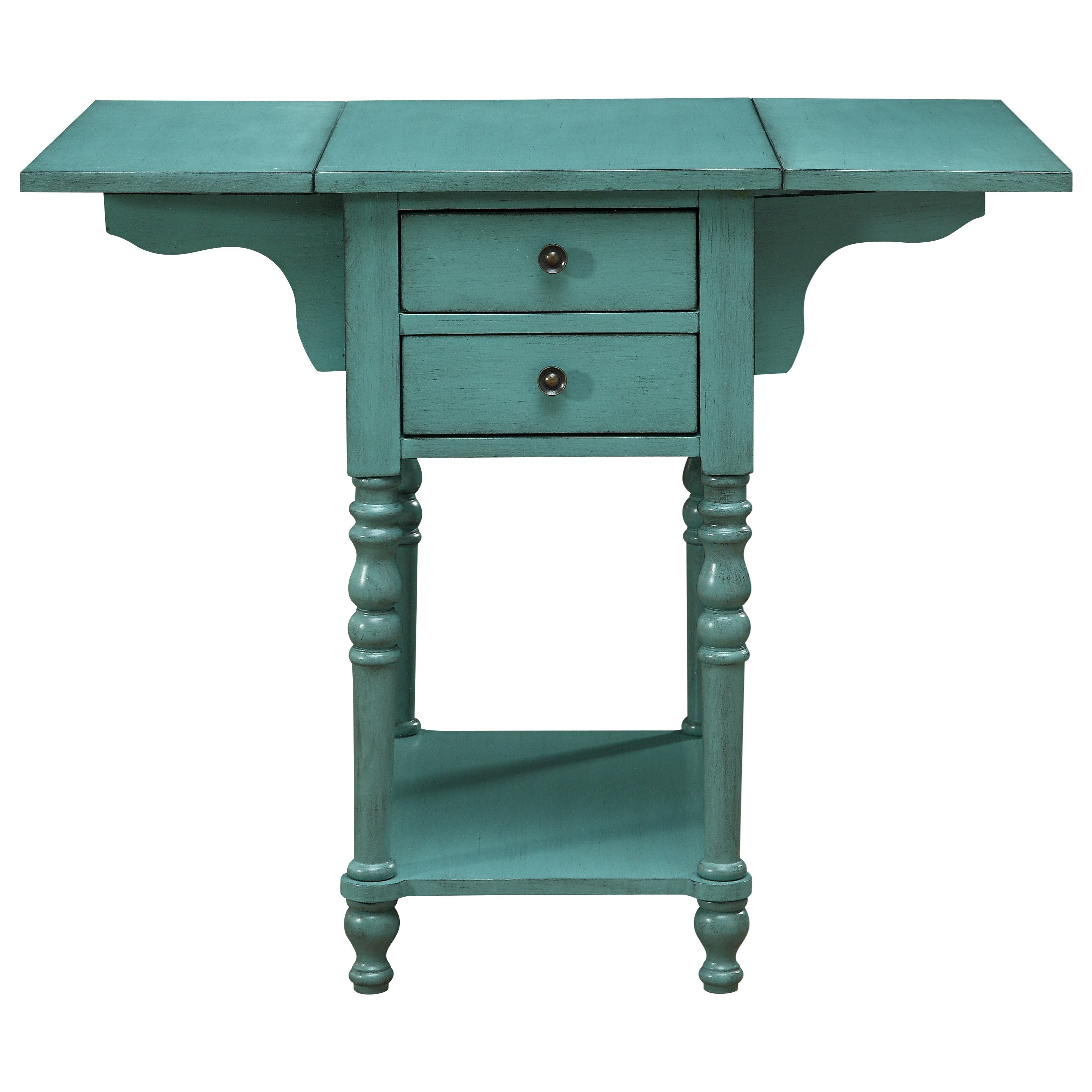 Ruby-Gordon Accents Drop Leaf Two Drawer Accent Table at Ruby Gordon Home