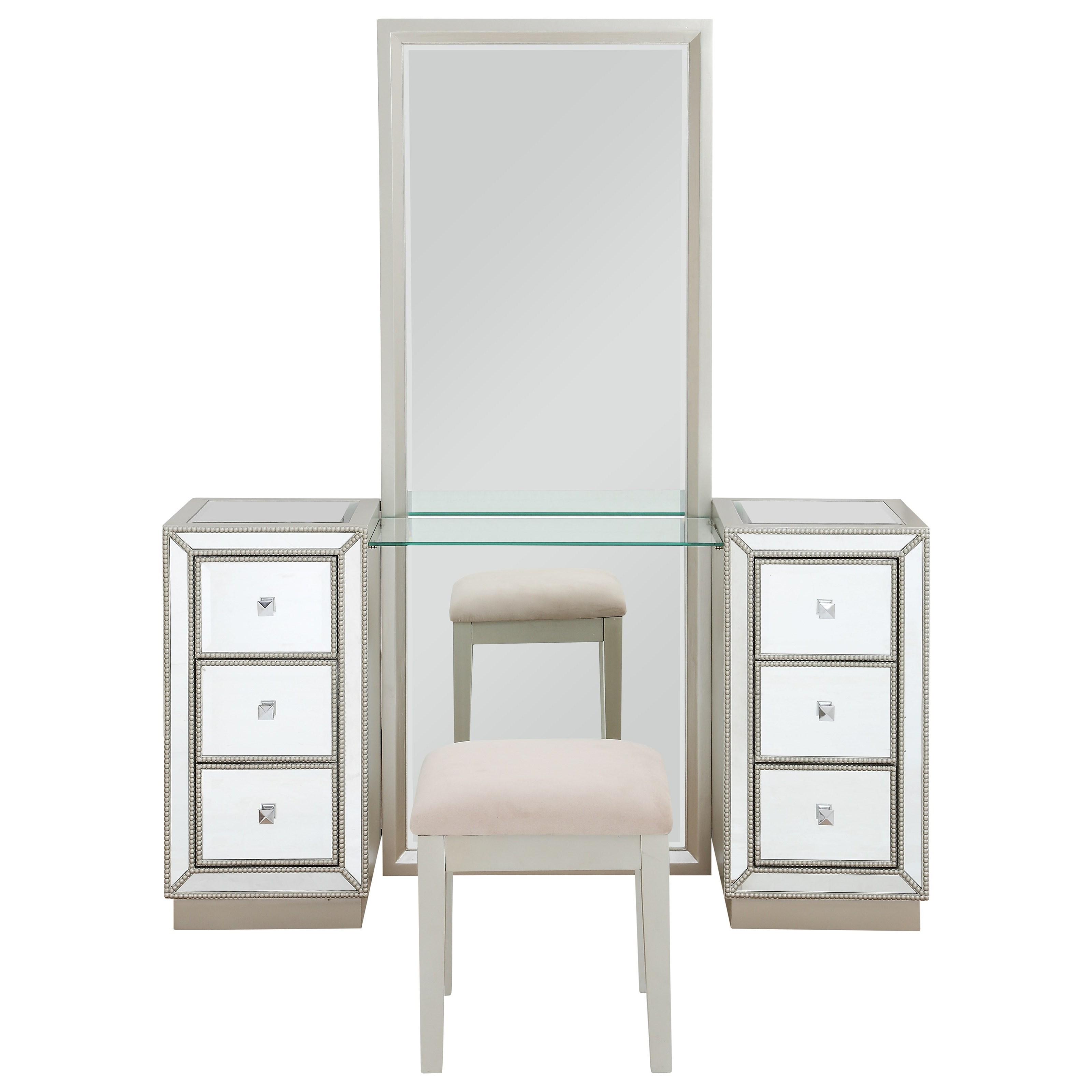 Coast to Coast Accents Six Drawer Console w/ Mirror & Stool by Coast to Coast Imports at Bullard Furniture