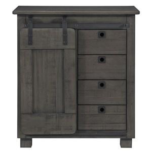 Industrial 4-Drawer Cabinet with Sliding Door