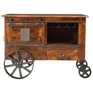 Industrial Two Door One Drawer Wine Cart