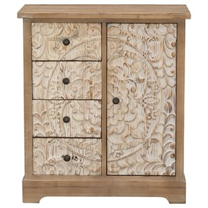 Transitional 1-Door, 4-Drawer Cabinet